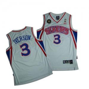 Philadelphia 76ers #3 10TH Throwback Blanc Authentic Maillot d'équipe de NBA Promotions - Allen Iverson pour Homme