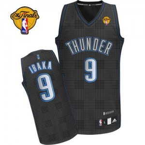 Maillot Adidas Noir Rhythm Fashion Finals Patch Authentic Oklahoma City Thunder - Serge Ibaka #9 - Homme