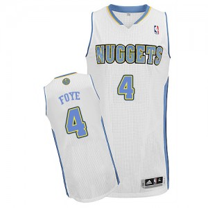 Maillot NBA Denver Nuggets #4 Randy Foye Blanc Adidas Authentic Home - Homme