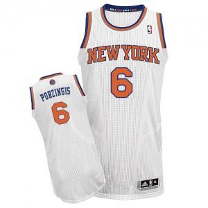 New York Knicks #6 Adidas Home Blanc Authentic Maillot d'équipe de NBA en vente en ligne - Kristaps Porzingis pour Homme