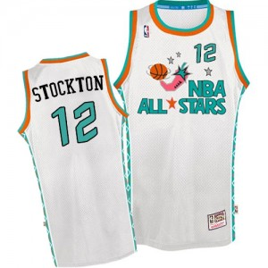 Maillot NBA Blanc John Stockton #12 Utah Jazz Throwback 1996 All Star Authentic Homme Mitchell and Ness