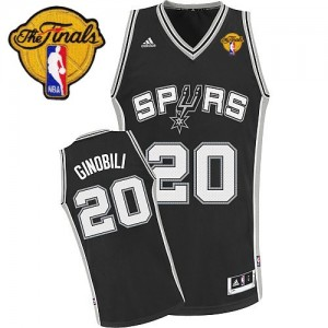 Maillot NBA Noir Manu Ginobili #20 San Antonio Spurs Road Finals Patch Swingman Enfants Adidas