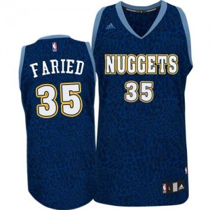 Maillot NBA Denver Nuggets #35 Kenneth Faried Bleu marin Adidas Authentic Crazy Light - Homme