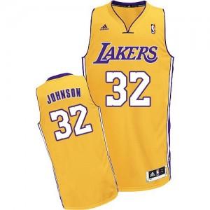 Los Angeles Lakers #32 Adidas Home Or Swingman Maillot d'équipe de NBA Prix d'usine - Magic Johnson pour Enfants