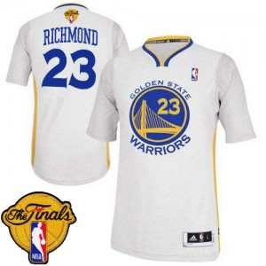 Maillot Adidas Blanc Alternate 2015 The Finals Patch Authentic Golden State Warriors - Mitch Richmond #23 - Homme