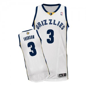 Maillot Adidas Blanc Home Authentic Memphis Grizzlies - Allen Iverson #3 - Homme