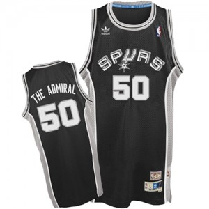 "San Antonio Spurs #50 Adidas ""The Admiral"" Nickname Noir Authentic Maillot d'équipe de NBA la vente - David Robinson pour Homme"