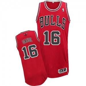 Maillot NBA Rouge Pau Gasol #16 Chicago Bulls Road Authentic Homme Adidas