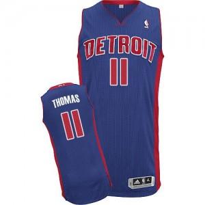 Maillot Adidas Bleu royal Road Authentic Detroit Pistons - Isiah Thomas #11 - Homme