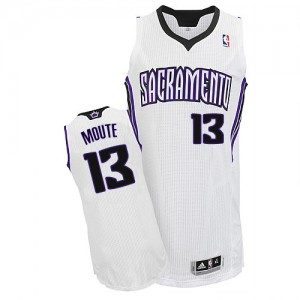 Maillot NBA Sacramento Kings #13 Luc Mbah a Moute Blanc Adidas Authentic Home - Enfants