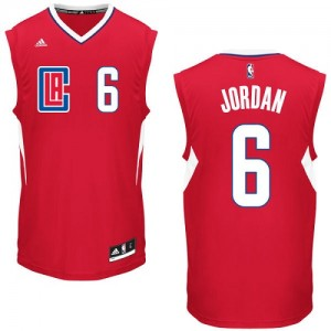 Maillot NBA Los Angeles Clippers #6 DeAndre Jordan Rouge Adidas Authentic Road - Homme