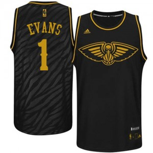 New Orleans Pelicans Tyreke Evans #1 Precious Metals Fashion Authentic Maillot d'équipe de NBA - Noir pour Homme