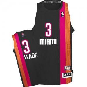 Maillot Adidas Noir ABA Hardwood Classic Authentic Miami Heat - Dwyane Wade #3 - Homme