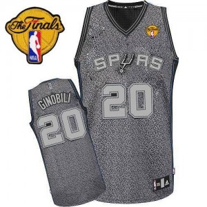 Maillot NBA Authentic Manu Ginobili #20 San Antonio Spurs Static Fashion Finals Patch Gris - Homme