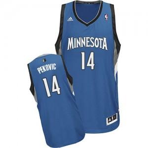 Minnesota Timberwolves #14 Adidas Road Slate Blue Swingman Maillot d'équipe de NBA sortie magasin - Nikola Pekovic pour Homme