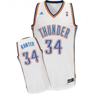 Oklahoma City Thunder Enes Kanter #34 Home Swingman Maillot d'équipe de NBA - Blanc pour Homme
