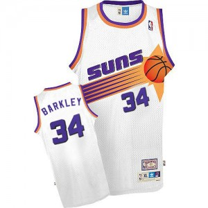 Maillot NBA Phoenix Suns #34 Charles Barkley Blanc Mitchell and Ness Swingman Throwback - Homme