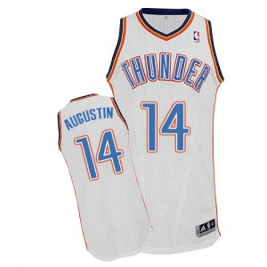 Maillot Adidas Blanc Home Authentic Oklahoma City Thunder - D.J. Augustin #14 - Homme