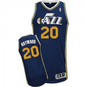 Maillot NBA Utah Jazz #20 Gordon Hayward Bleu marin Adidas Authentic Road - Homme