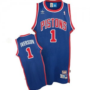 Maillot NBA Detroit Pistons #1 Allen Iverson Bleu Adidas Authentic Throwback - Homme