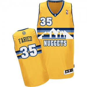 Maillot NBA Denver Nuggets #35 Kenneth Faried Or Adidas Authentic Alternate - Homme