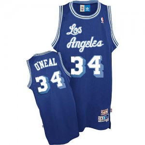 Maillot Nike Bleu Throwback Authentic Los Angeles Lakers - Shaquille O'Neal #34 - Homme