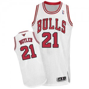 Maillot Authentic Chicago Bulls NBA Home Blanc - #21 Jimmy Butler - Homme