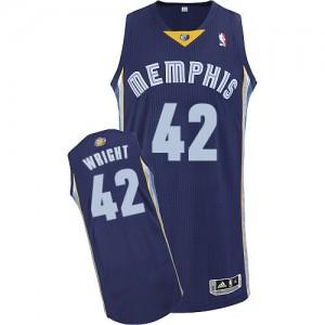 Memphis Grizzlies Lorenzen Wright #42 Road Authentic Maillot d'équipe de NBA - Bleu marin pour Homme