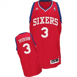 Philadelphia 76ers #3 Adidas Road Rouge Swingman Maillot d'équipe de NBA Discount - Allen Iverson pour Homme