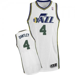 Maillot NBA Utah Jazz #4 Adrian Dantley Blanc Adidas Authentic Home - Homme