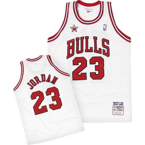 Maillot NBA Authentic Michael Jordan #23 Chicago Bulls Throwback 1998 Blanc - Homme