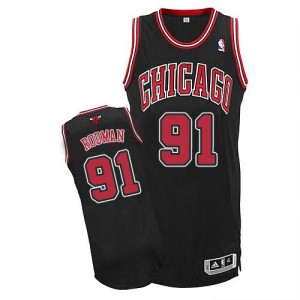 Maillot NBA Chicago Bulls #91 Dennis Rodman Noir Adidas Authentic Alternate - Homme