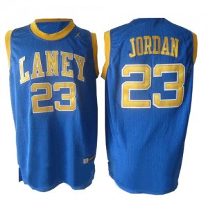 Maillot NBA Chicago Bulls #23 Michael Jordan Bleu Nike Swingman Laney High School Classic Throwback - Homme