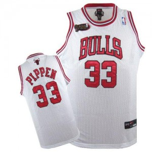 Maillot NBA Blanc Scottie Pippen #33 Chicago Bulls Champions Patch Swingman Homme Nike