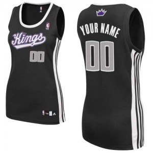 Maillot NBA Noir Authentic Personnalisé Sacramento Kings Alternate Femme Adidas