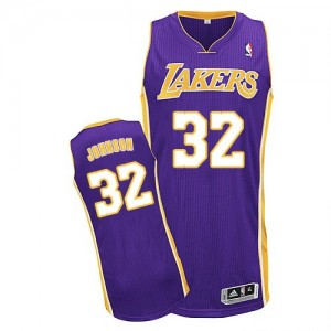 Maillot NBA Violet Magic Johnson #32 Los Angeles Lakers Road Authentic Homme Adidas