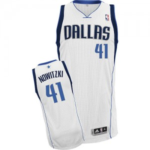Maillot Authentic Dallas Mavericks NBA Home Blanc - #41 Dirk Nowitzki - Enfants