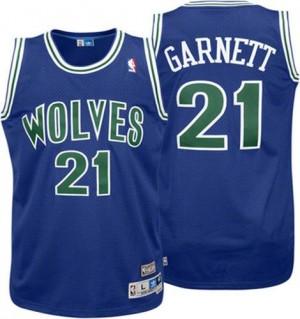Maillot NBA Authentic Kevin Garnett #21 Minnesota Timberwolves Throwback Bleu - Homme