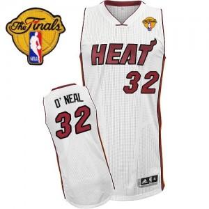 Miami Heat Shaquille O'Neal #32 Home Finals Patch Swingman Maillot d'équipe de NBA - Blanc pour Homme
