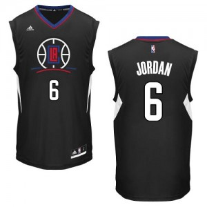 Maillot NBA Los Angeles Clippers #6 DeAndre Jordan Noir Adidas Authentic Alternate - Homme