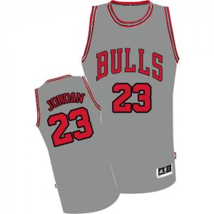 Chicago Bulls Michael Jordan #23 Authentic Maillot d'équipe de NBA - Gris pour Homme