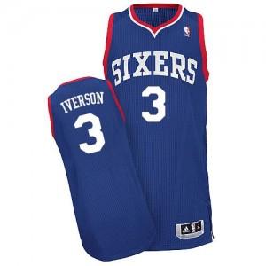 Philadelphia 76ers #3 Adidas Alternate Bleu royal Authentic Maillot d'équipe de NBA boutique en ligne - Allen Iverson pour Homme