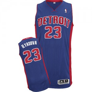 Maillot NBA Bleu royal Ersan Ilyasova #23 Detroit Pistons Road Authentic Homme Adidas