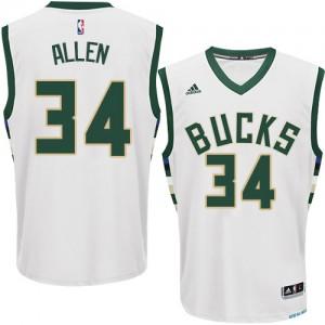 Maillot NBA Blanc Ray Allen #34 Milwaukee Bucks Home Authentic Homme Adidas