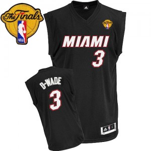 Maillot Adidas Noir D-WADE Nickname Finals Patch Authentic Miami Heat - Dwyane Wade #3 - Homme