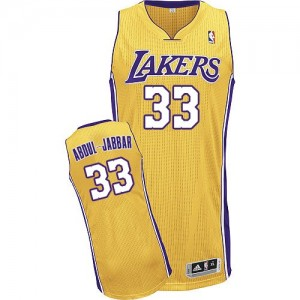 Maillot Authentic Los Angeles Lakers NBA Home Or - #33 Kareem Abdul-Jabbar - Homme