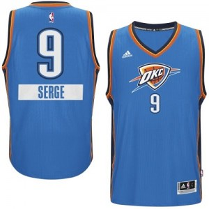Maillot Adidas Bleu 2014-15 Christmas Day Authentic Oklahoma City Thunder - Serge Ibaka #9 - Homme