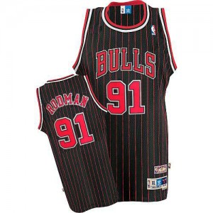 Maillot NBA Chicago Bulls #91 Dennis Rodman Noir Rouge Adidas Authentic Throwback - Homme
