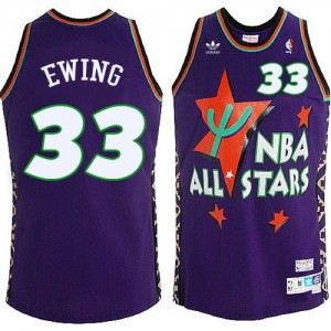 New York Knicks #33 Mitchell and Ness All Star Throwback Bleu Authentic Maillot d'équipe de NBA Braderie - Patrick Ewing pour Homme