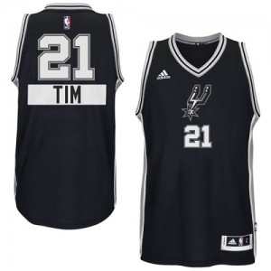 Maillot Adidas Noir 2014-15 Christmas Day Swingman San Antonio Spurs - Tim Duncan #21 - Enfants